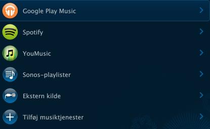 Musiktjenester på Play:5